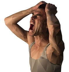 Frustrated man scream design with polygons vector