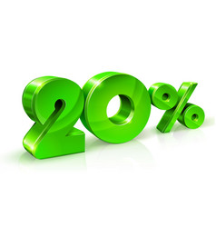 Glossy green 20 twenty percent off sale isolated vector