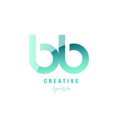 Green gradient pastel modern b b alphabet letter vector