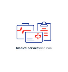 Health care services thin line icon insurance card vector