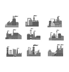 industrial factory or industry plants icons vector image vector image