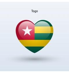 Love togo symbol heart flag icon vector