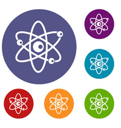 molecules of atom icons set vector image vector image