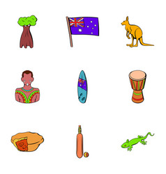 New zealand icons set cartoon style vector