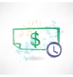 Paper dollar and time grunge icon vector
