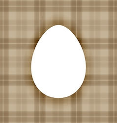 Plain white flat egg over warm brown checkered bac vector image vector image