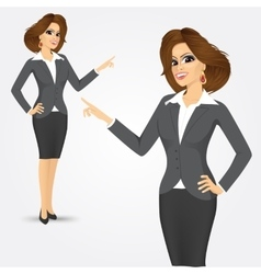 portrait of businesswoman pointing vector image vector image