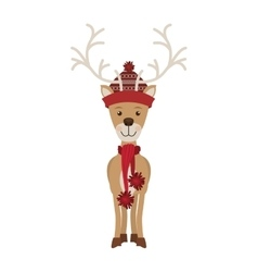 Reindeer with christmas decoration standing vector