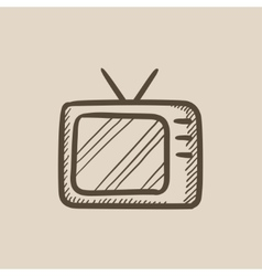 Retro television sketch icon vector image