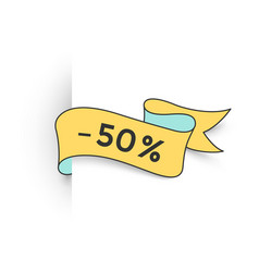 Ribbon banner with text 50 percent for discount vector