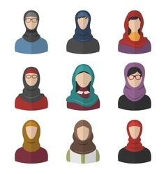 Set arabic women flat icons vector
