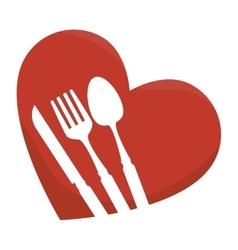 Set cutlery in heart vector
