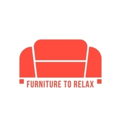 Furniture to relax with red sofa vector