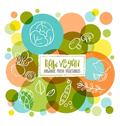 Raw vegan organic fresh vegetables doodles vector