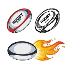Collection ball rugby white background design vector