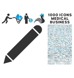 Pencil icon with 1000 medical business symbols vector