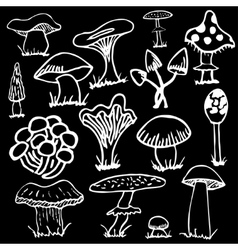 Set of white silhouettes cute cartoon mushrooms on vector