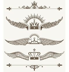 Set of royal winged crowns design elements vector