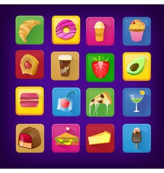 Set of icons with food and drinks for restaurant vector