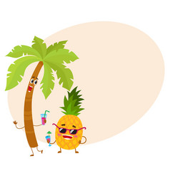 Funny pineapple and tropic palm characters holding vector
