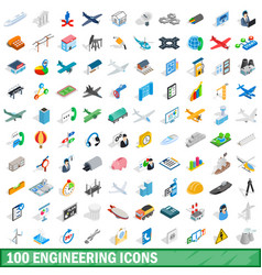 100 engineering icons set isometric 3d style vector