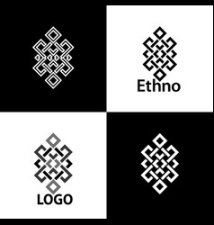 set collection of the endless knot or eternal knot vector image