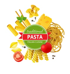 Background with different pasta types vector