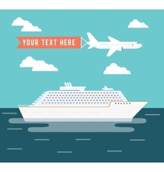 Cruise ship and plane travel poster design vector