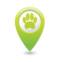 Animal footstep green map pointer vector
