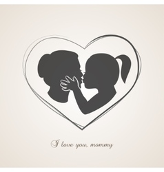 Little girl kissing her mom on mothers day vector