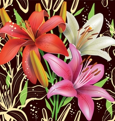 Seamless floral pattern with lilies vector image