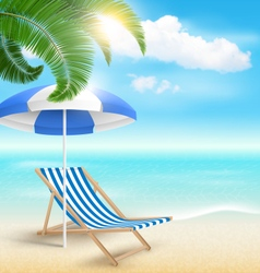 Beach with palm clouds sun beach umbrella and vector