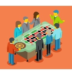 Isometric casino people play at casino table vector