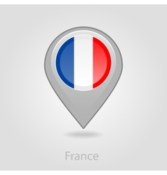 France flag pin map icon vector