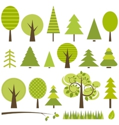 set of green trees vector image