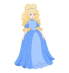Blonde princess in shine blue dress with spangles vector