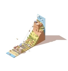 isometric cableway from the beach to the vector image