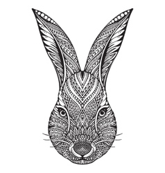 Hand drawn graphic ornate head of rabbit vector