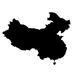Black silhouette map of China vector image vector image