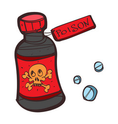 Bottle with poison colored button with a black vector