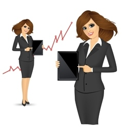 Business woman holding a tablet computer vector image