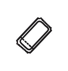 Cinema ticket sketch icon vector