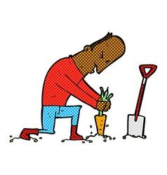 Comic cartoon gardener vector