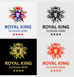 crown lion king crest logo template vector image