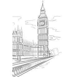 drawing big ben of tower in london uk vector image