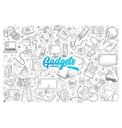Gadgets doodle set with lettering vector
