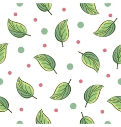 Green leaves pattern with green and red dots vector image vector image