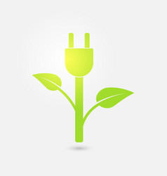 green plug power ecology charging icon vector image vector image