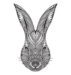 Hand drawn graphic ornate head of rabbit vector image