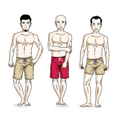 happy men posing with athletic body wearing beach vector image vector image